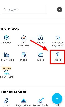 Step 2 how to pay traffic e challan through paytm