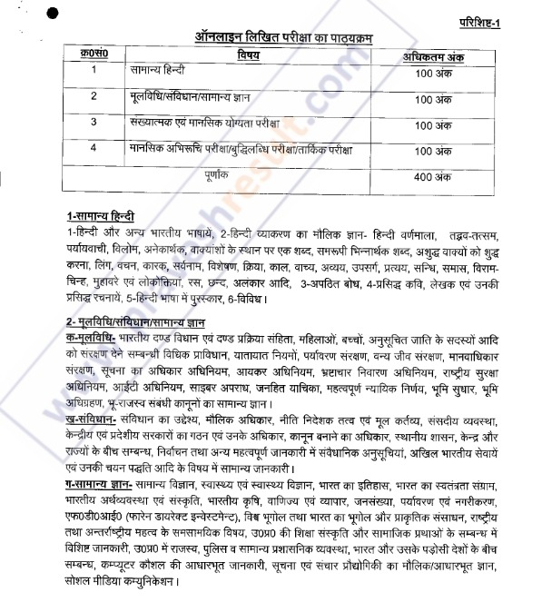 UPSI Syllabus UP Police Syllabus in Hindi & English PDF