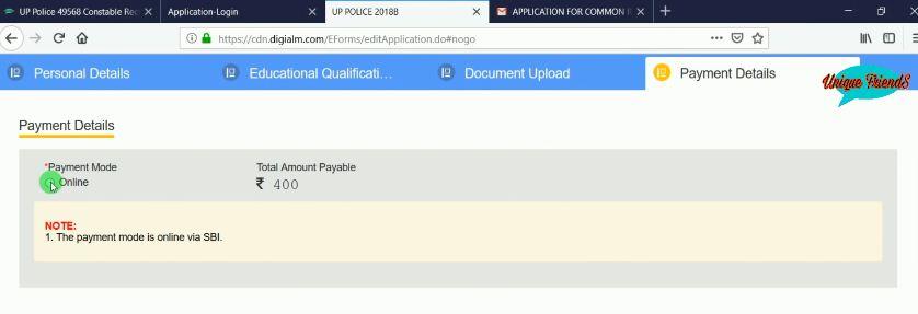 UPSI 2021 Vacancy Online Fee Payment