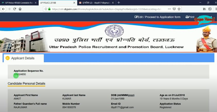 UPSI Apply Online Registration Slip